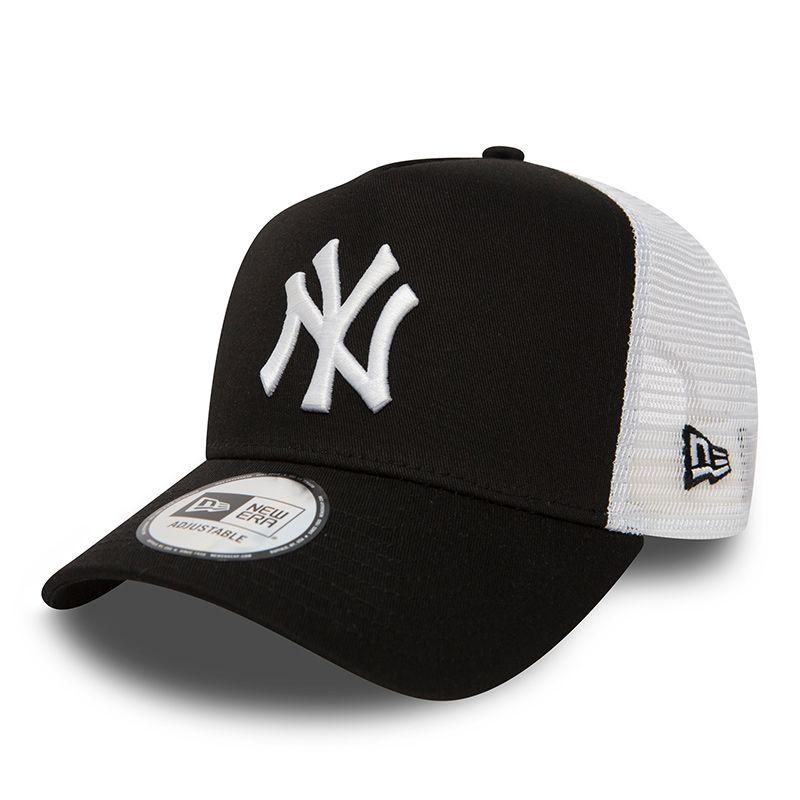 New Era 9FORTY New York Yankees Clean A-Frame Trucker Cap Black / White