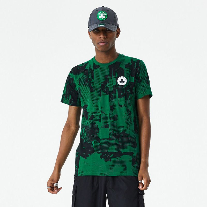 Men's New Era Boston Celtics All Over Error Print T-Shirt Green