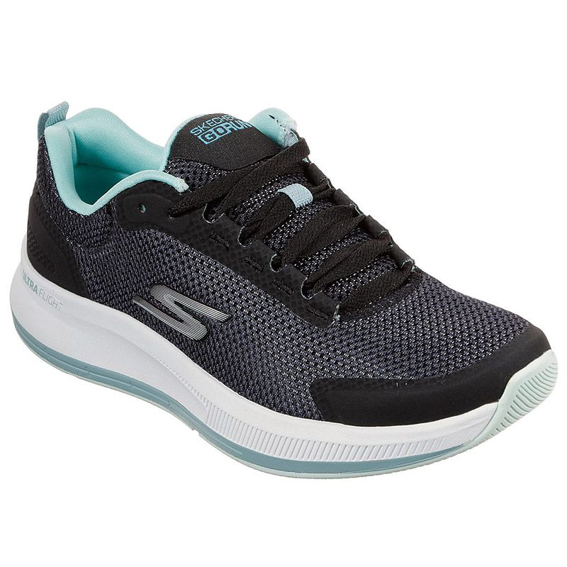 Women's Skechers GOrun Pulse - Validate Trainers Black / Turquoise