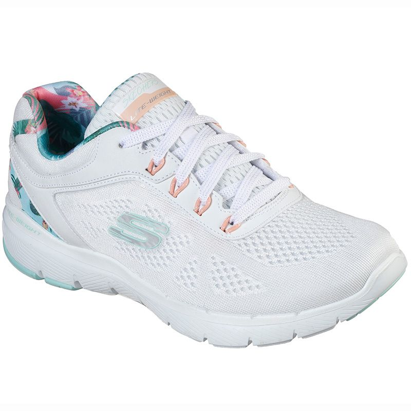 skechers white and gold flex appeal