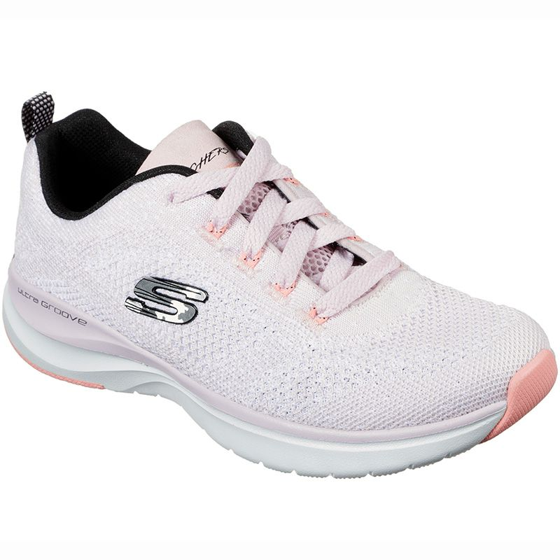 Women's Skechers Ultra Groove Trainers White / Pink / Black