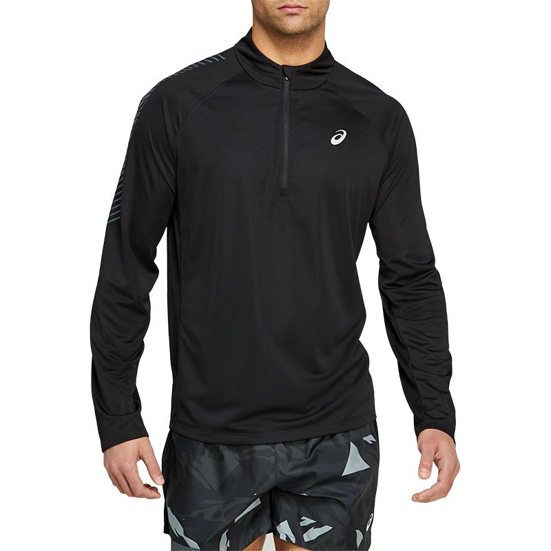 Men's ASICS Icon Long Sleeve Half Zip Top Performance Black / Carrier Grey