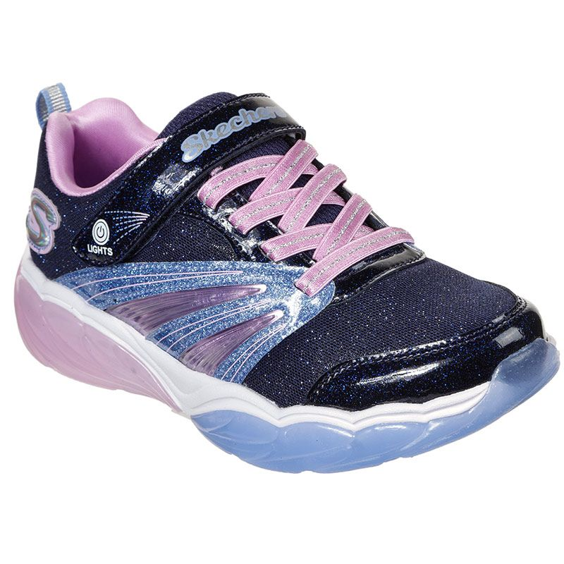 Kids' Skechers S Lights: Fusion Flash PS Trainers Navy / Pink
