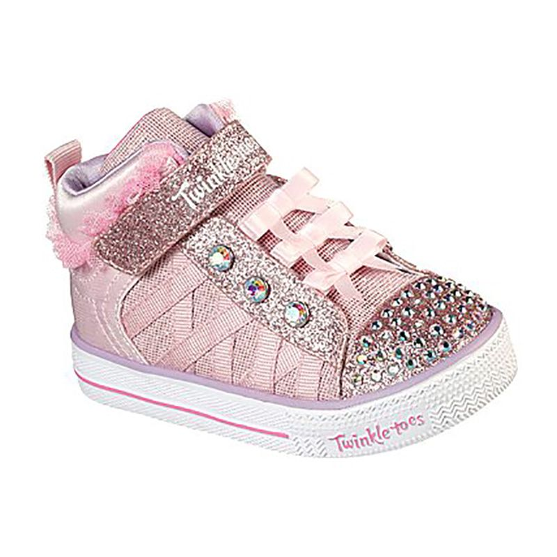 Kids' Skechers Twinkle Toes: Shuffle Lites Adore-A-Ball Infant Trainers Pink