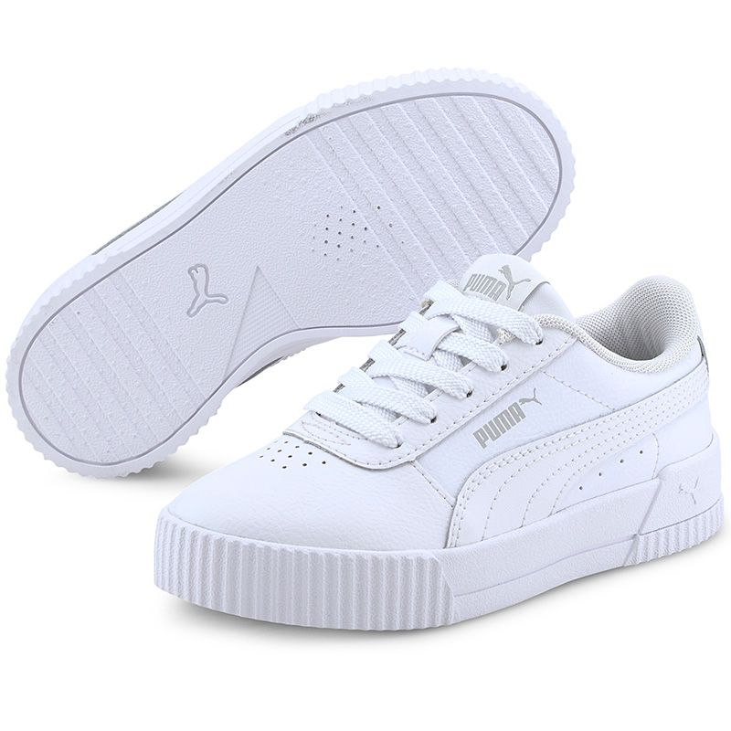 Kids' Puma Carina L PS Trainers White / Grey Violet