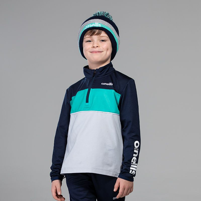 Kids' Jasper Brushed Half Zip Top Marine / Silver / Green
