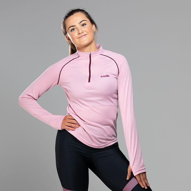 Women's Savannah Midlayer Half Zip Top Pink / Maroon
