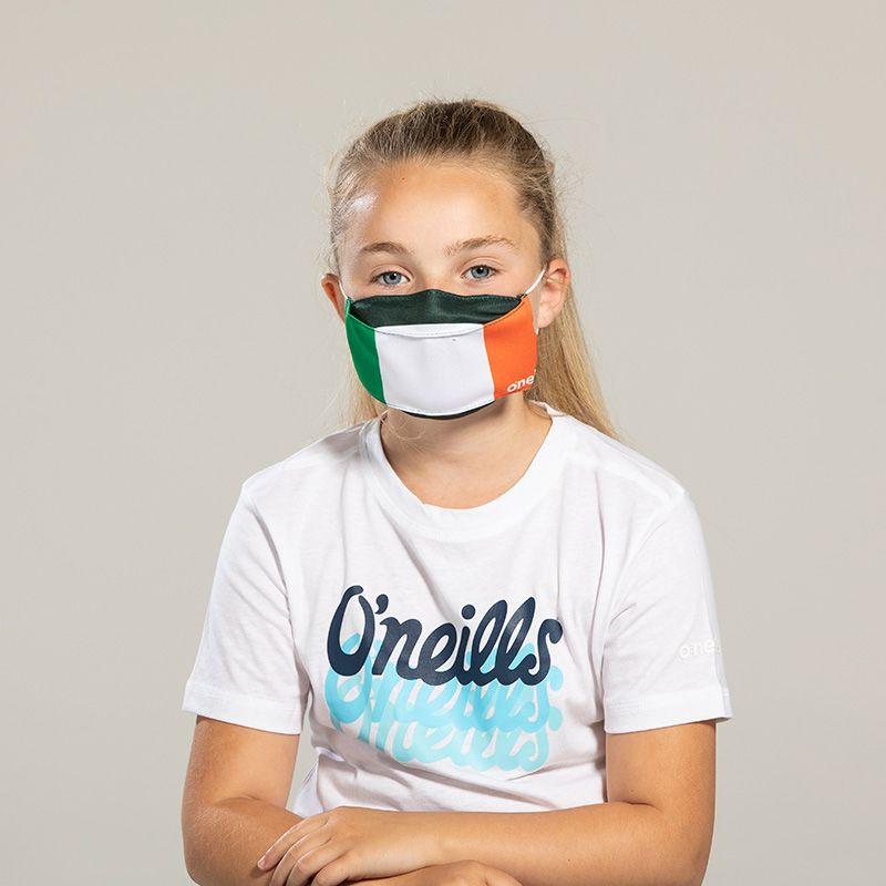 Kids' Reusable Face Mask Green / White / Orange