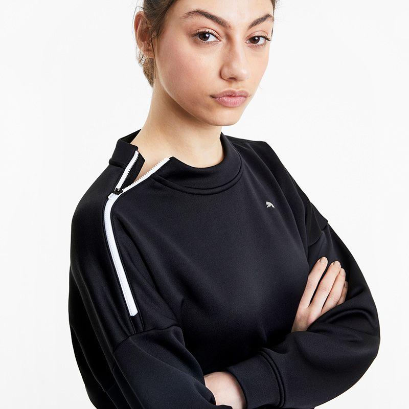 Women's Puma Train Zip Crew Neck Sweatshirt Black