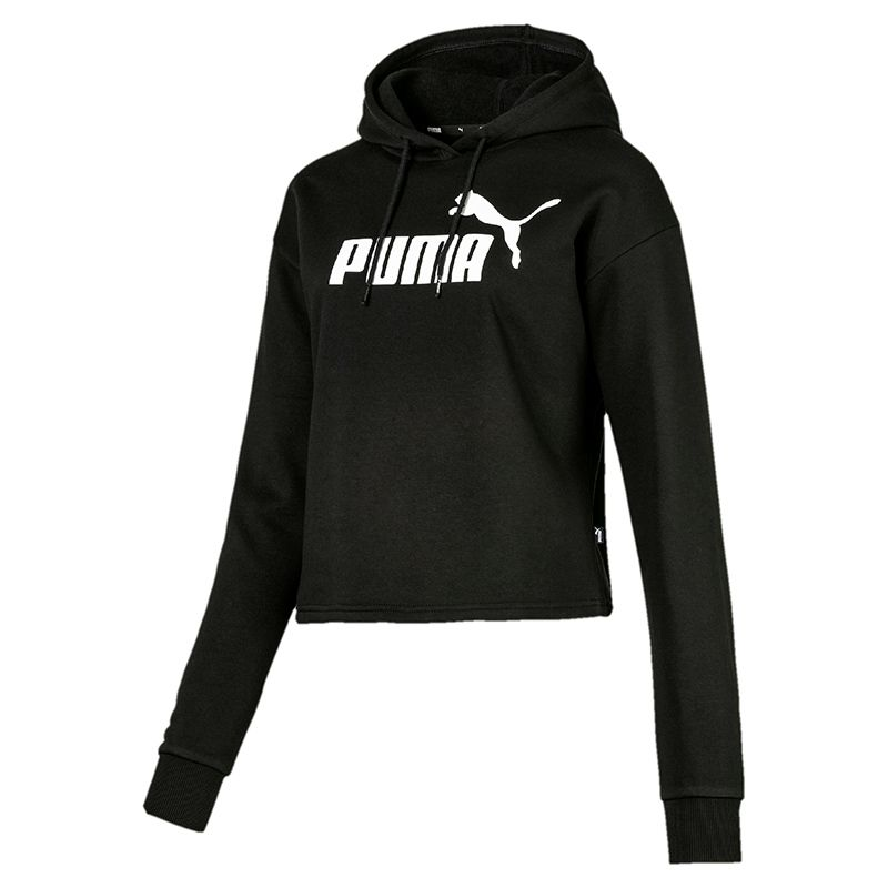 Women's Puma Elevated Essentials Logo Cropped Hooded Top Black