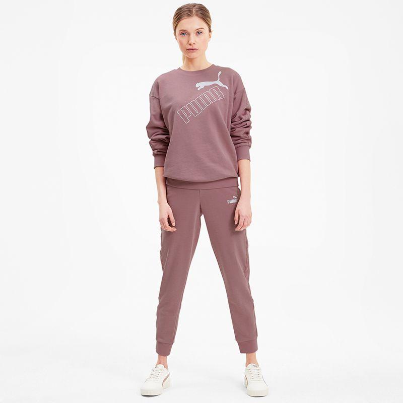 Women's Puma Amplified Crew Neck Sweatshirt Foxglove