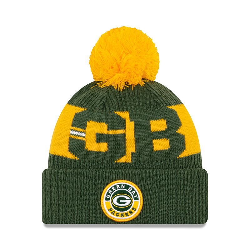 New Era Green Bay Packers On Field Sideline Bobble Knit Green / Amber