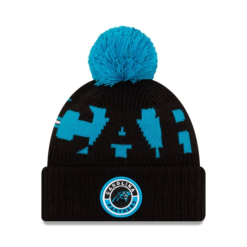New Era Carolina Panthers On Field Sideline Bobble Knit Black / Sky