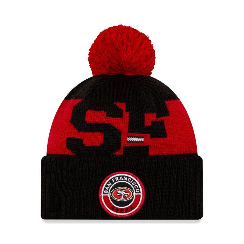 New Era San Francisco 49ERS On Field Sideline Bobble Knit Black / Red