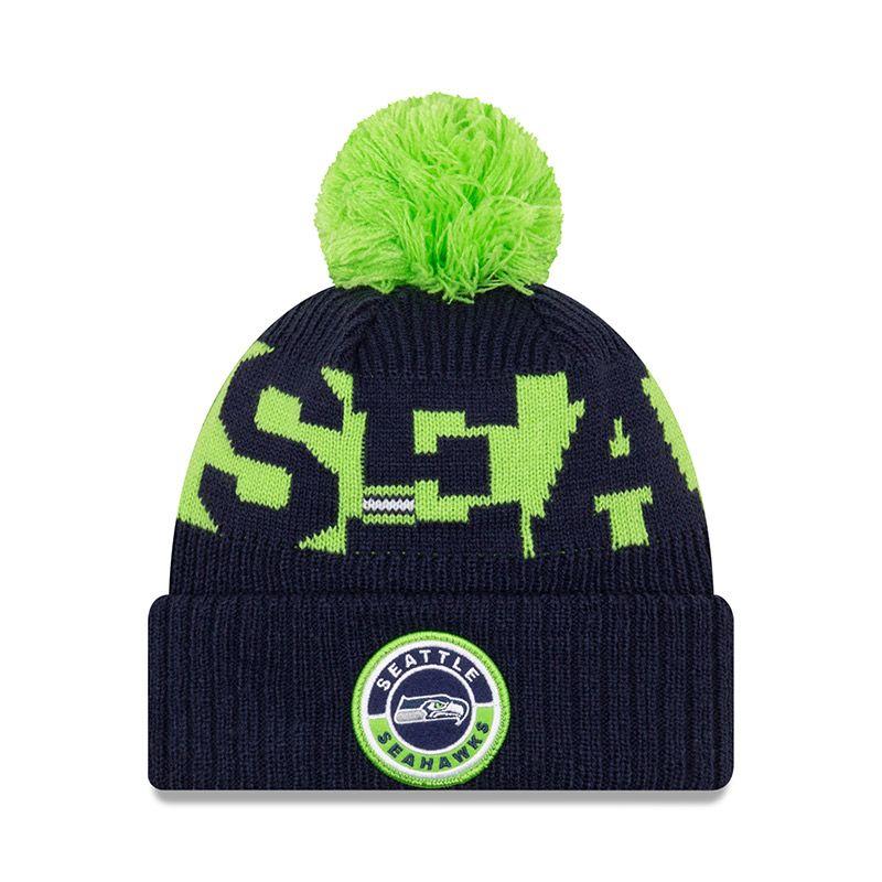 New Era Seattle Seahawks On Field Sideline Bobble Knit Navy / Lime