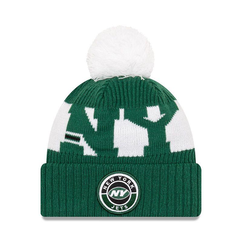 New Era New York Jets On Field Sideline Bobble Knit Green / White