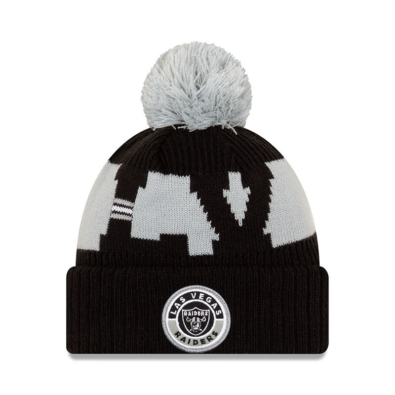 New Era Las Vegas Raiders On Field Sideline Bobble Knit Black / Grey