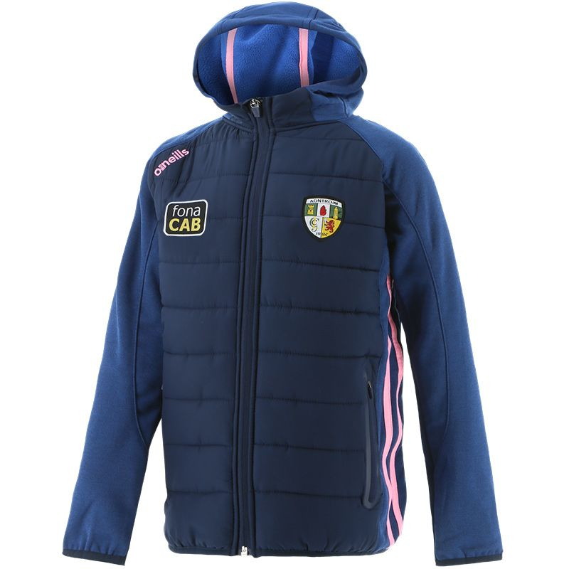 Antrim GAA Kids' Portland Light Weight Padded Jacket Marine / Pink
