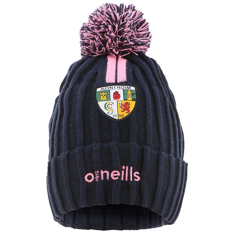 Antrim GAA Kids' Portland 2 Stripe Bobble Hat Marine / Pink