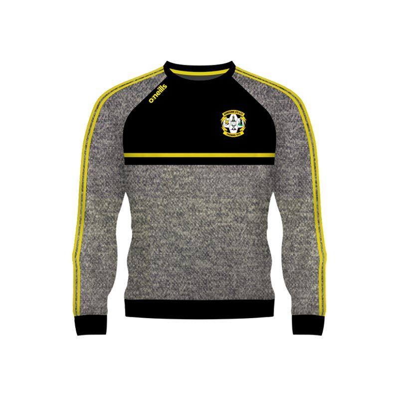 Ashbourne United Kids' Mason Crew Neck Marl Grey / Black / Flo Yellow
