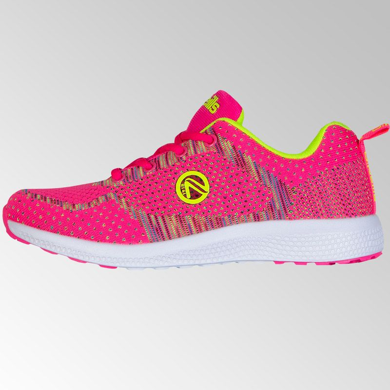 Astrid Lace Trainers (Junior) (Flo Pink/Neon Lime)