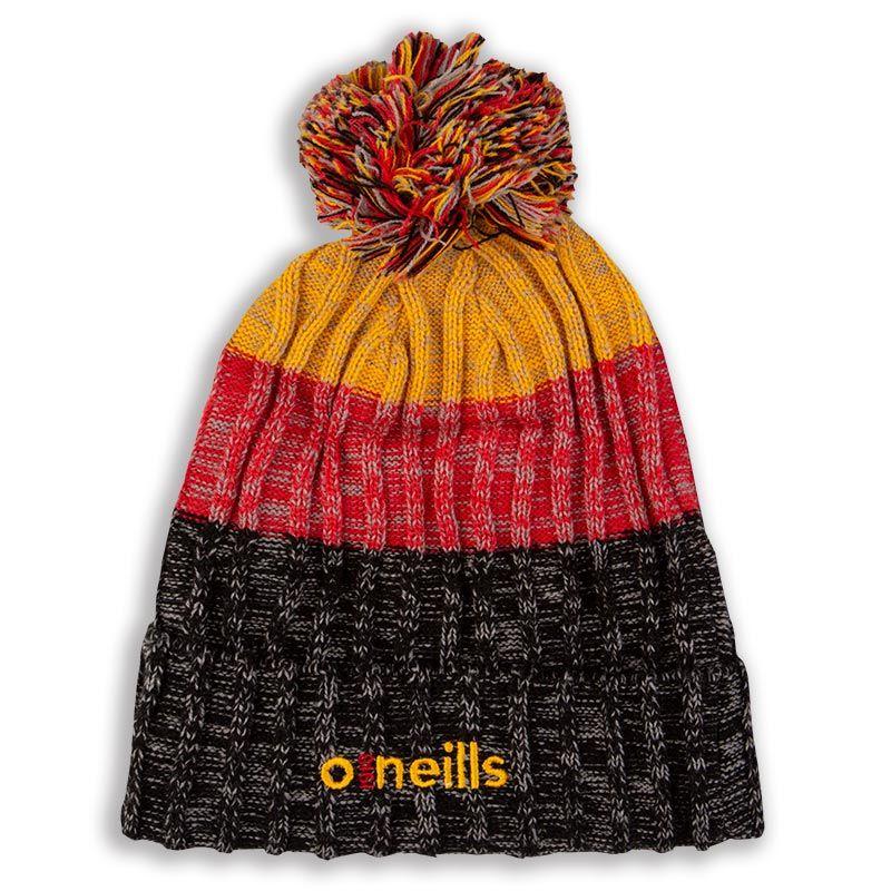 Bowen Bobble Hat Black Red Amber