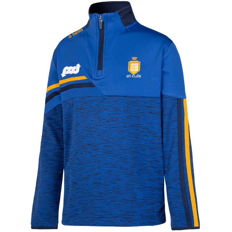 Clare GAA Kids' Nevis Brushed Midlayer Half Zip Top Blue / Yellow