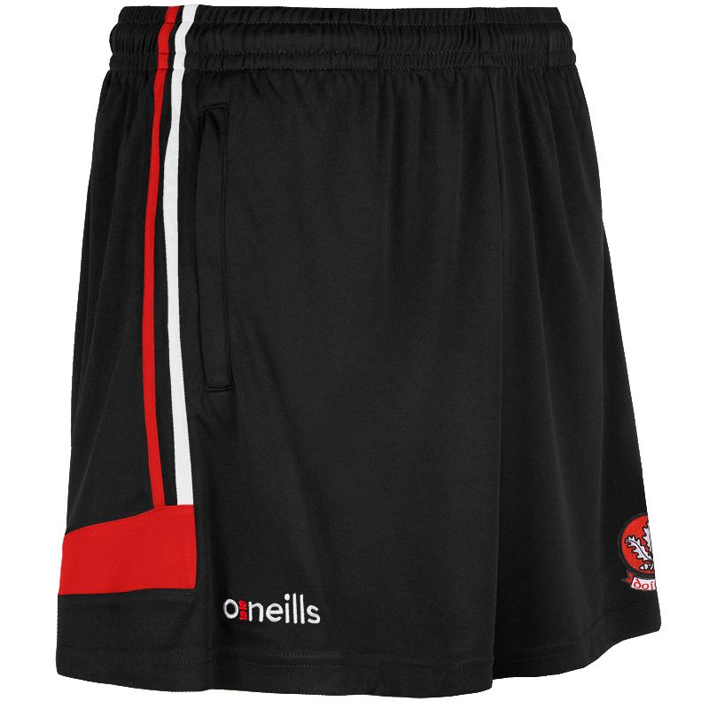 Derry GAA Colorado 2S Poly Shorts (Black/Red/White) (Kids)