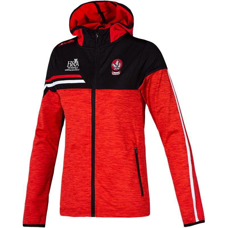 Derry GAA Women's Nevis  Brushed Full Zip Hoodie Red / Black / Red