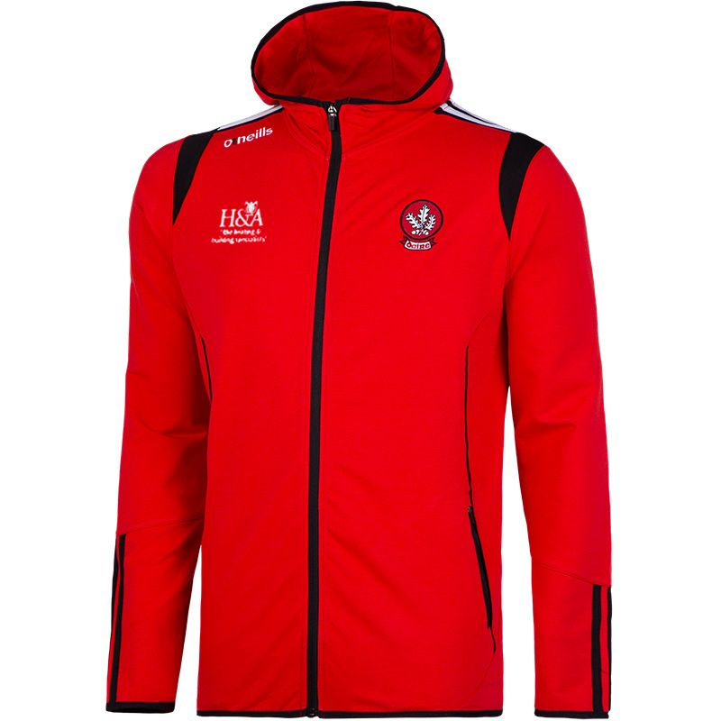Derry GAA Solar 2S French Terry Full Zip Fleece Hooded Top (Marl Red/Black/White) (Kids)
