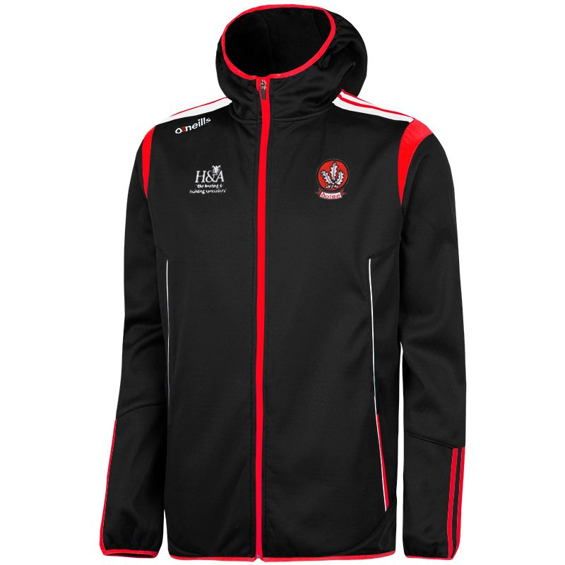 Derry GAA Solar 2S Full Zip Embossed Hooded Top (Black/Red/White)