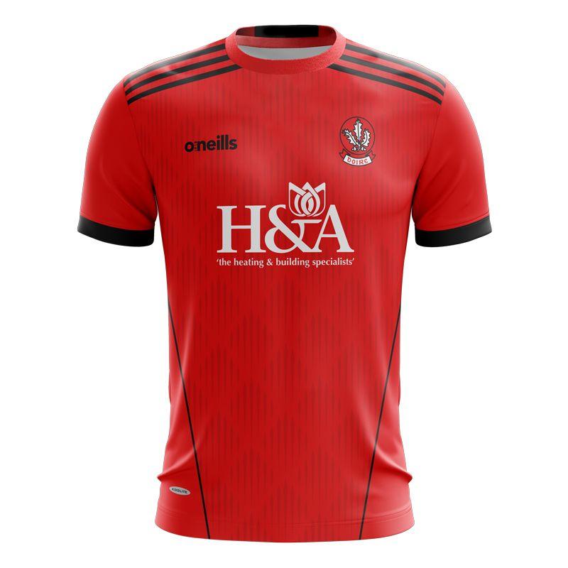 Derry GAA Kids' Short Sleeve Training Top Red / Black