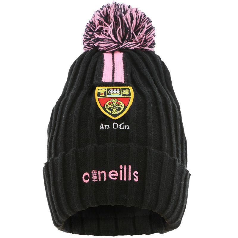 Down GAA Kids' Portland 2 Stripe Bobble Hat Black / Pink