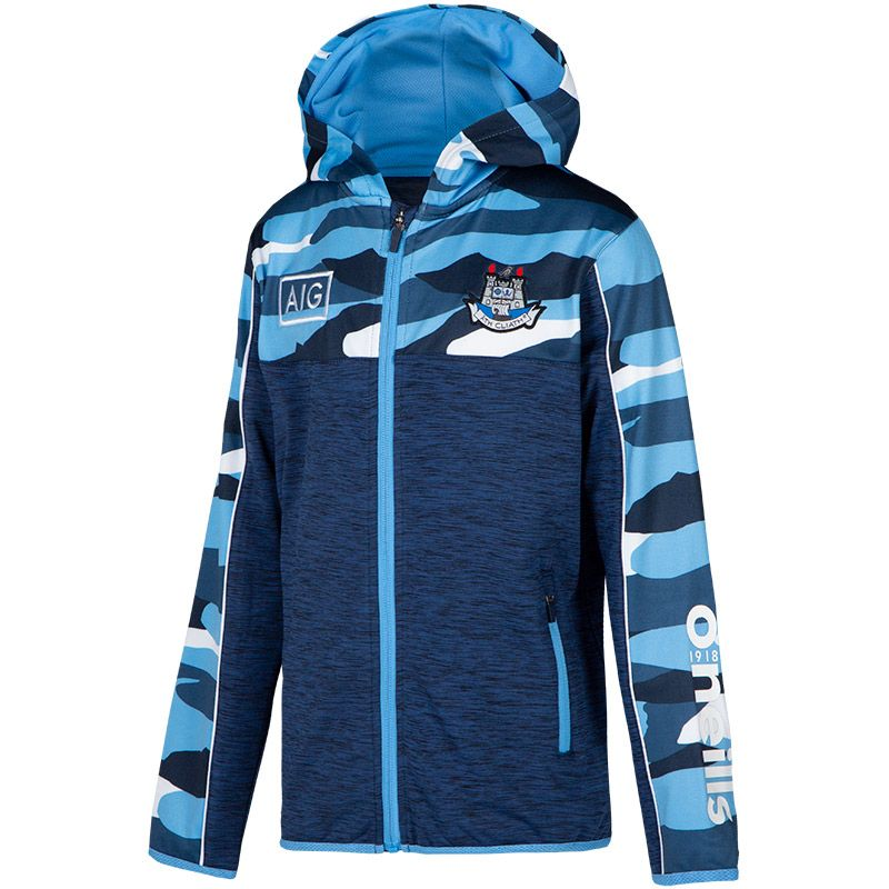 Dublin GAA Kids' Bobby Brushed Full Zip Hoodie Marine / Sky Blue / White
