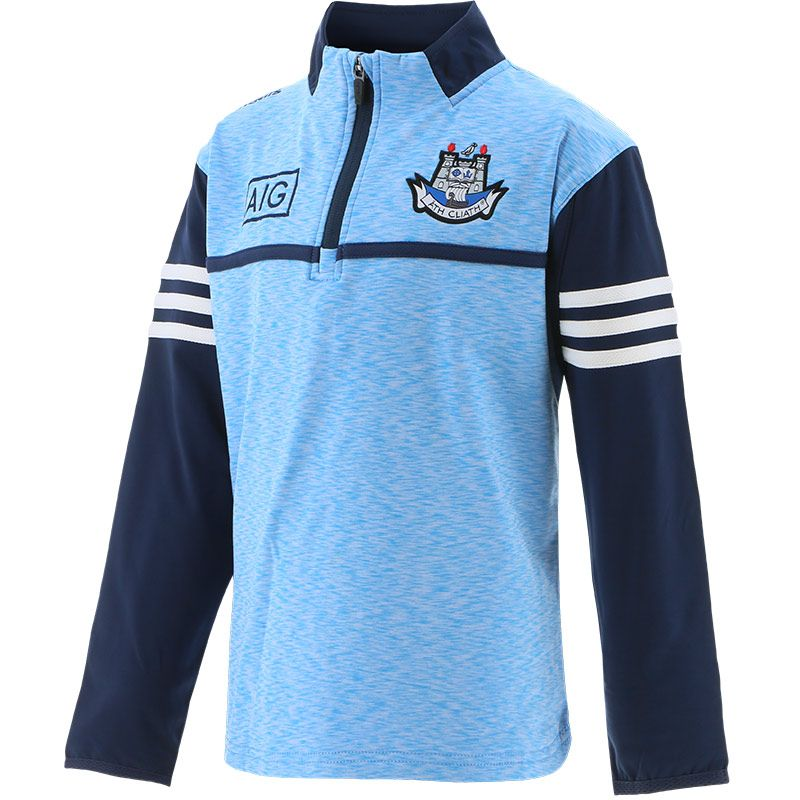 Dublin GAA Kids' Bolton Brushed Half Zip Top Sky / Marine / White