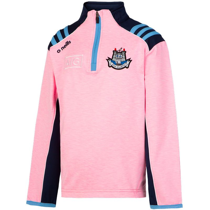 Dublin GAA Kids' Dawson Brushed Midlayer Half Zip Top 3S Pink / Marine / Sky