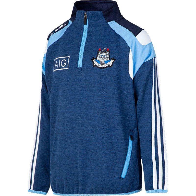 Dublin GAA Malone 3S Half Zip Squad Top (Mel Tonal Marine/Sky Blue/White) (Kids)