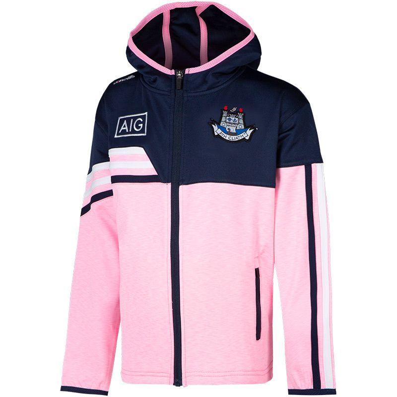 Dublin GAA Kids' Nevis Brushed Full-Zip Hoody Pink / Marine / White