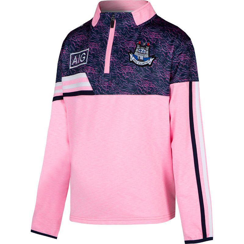 Dublin GAA Kids' Nevis Brushed Half Zip Pink / White / Marine