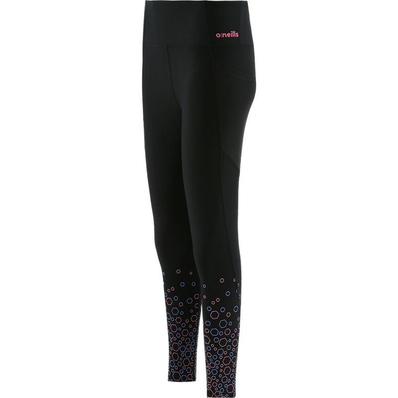 Women's Esme 7/8 Length Poly Elastane Legging Pants Black / Pink / Blue