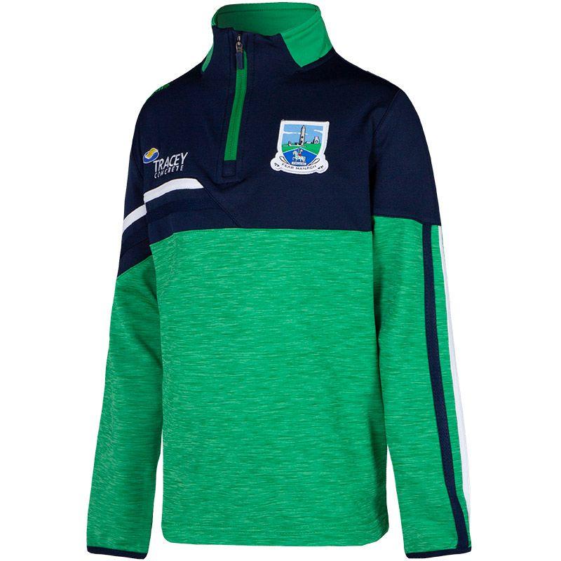 Fermanagh GAA Kids' Nevis Brushed Midlayer Half Zip Top Green / Marine / Green
