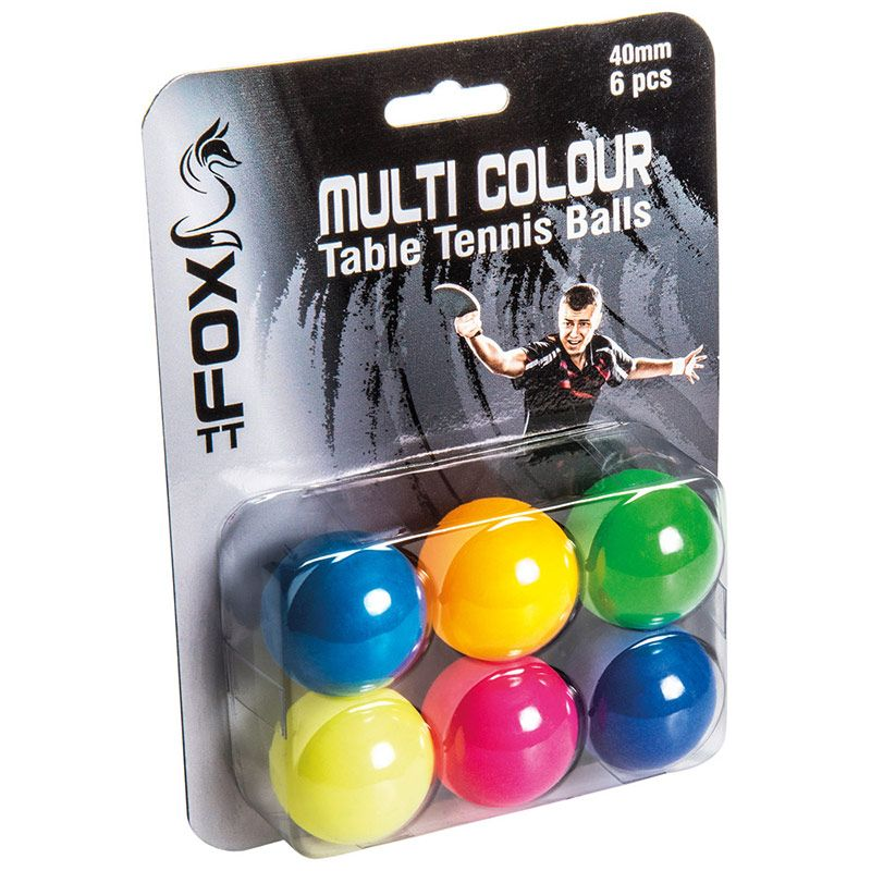 Fox TT Multi Coloured Table Tennis Balls 6 Pack