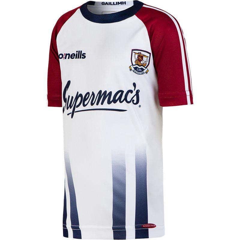 Galway GAA 2-Stripe Training Short Sleeve Top (White) (Kids)