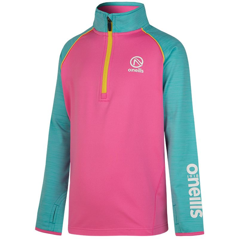 Izzy Half Zip Brushed Top (Azalea Pink/Marl Blue Racience/Aspen Gold/White)