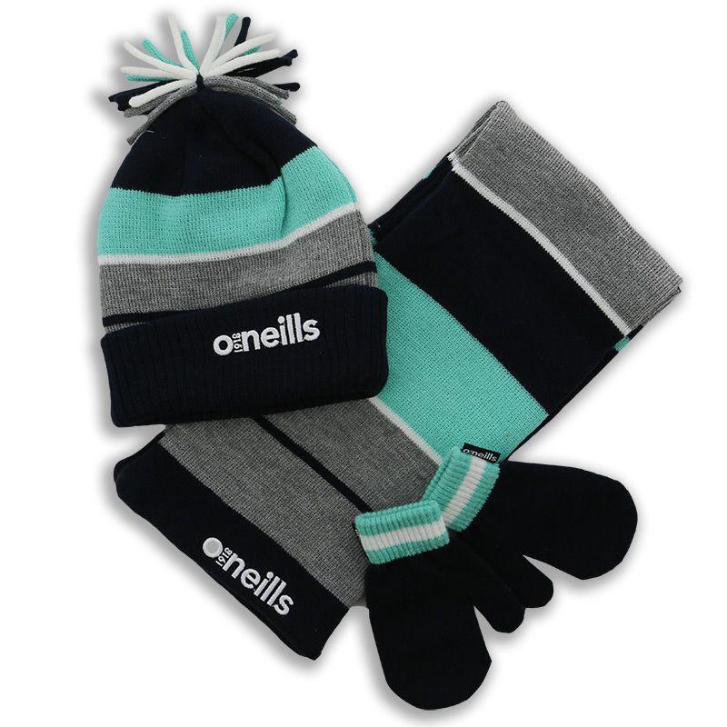 Jasper Hat, Scarf and Glove Set Marine / Green / Grey