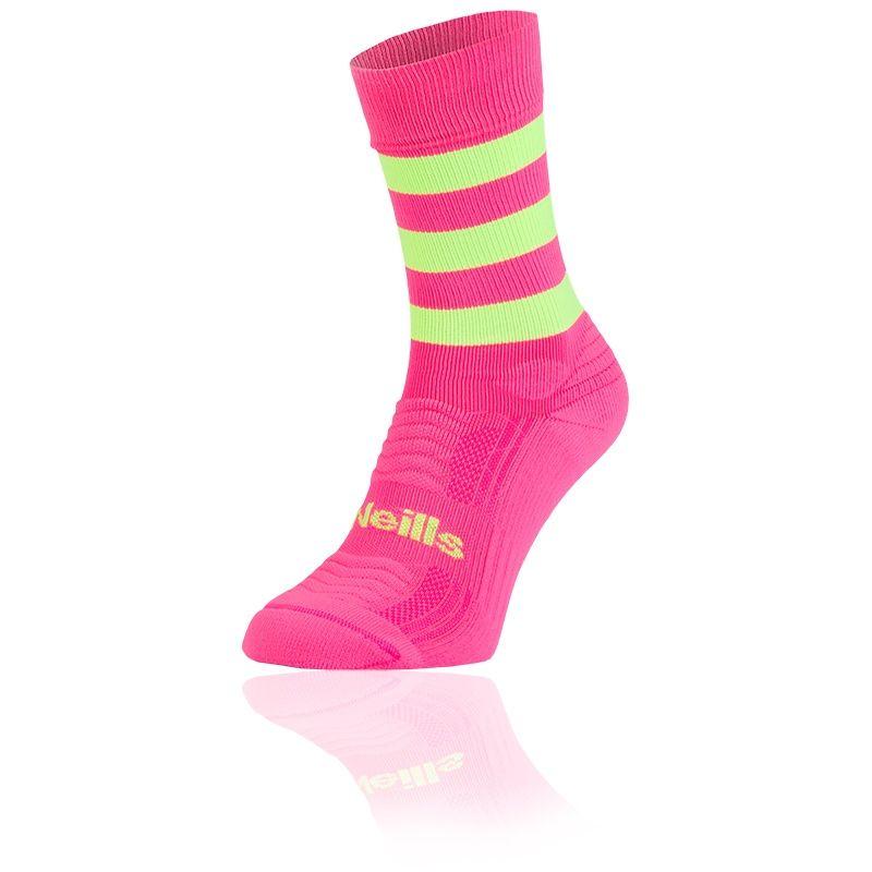 Women's Koolite Pro Midi Hoop Socks Flo Pink / Neon Lime