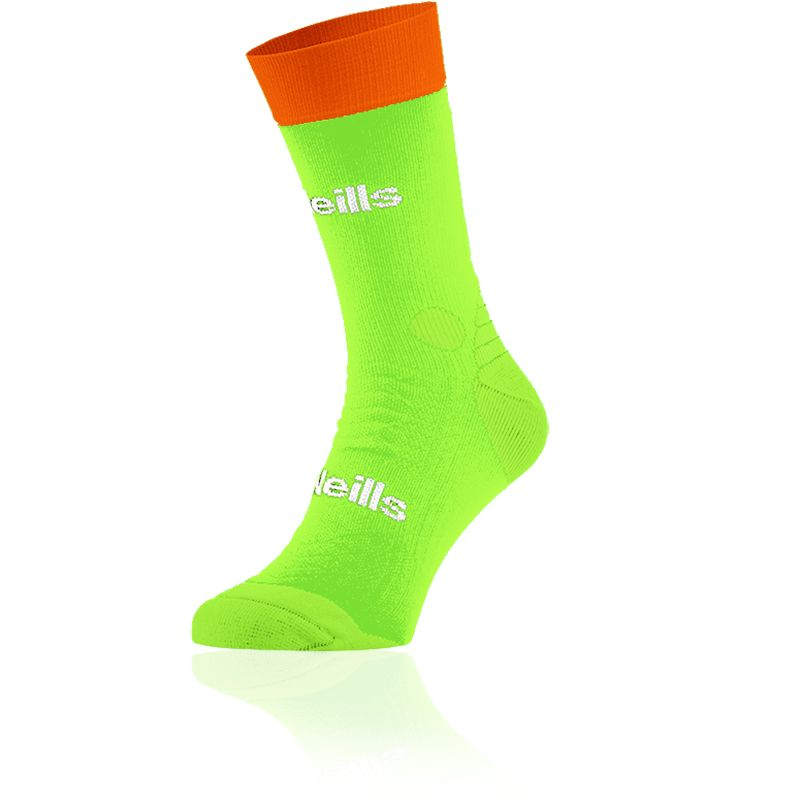 Kids' Koolite Pro Midi Socks Neon Lime / Flo Orange / White