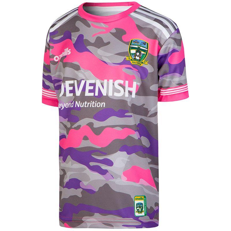 Meath GAA Kids' Camouflage Short Sleeve Training Top Pink