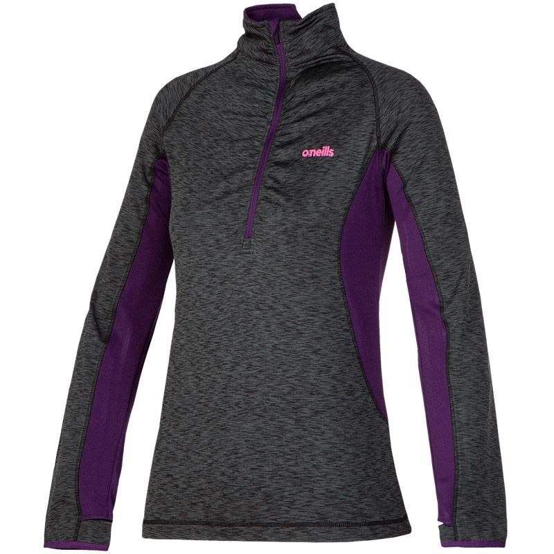 Women's Montana Brushed Ruched Half Zip Top Black / Purple / Pink