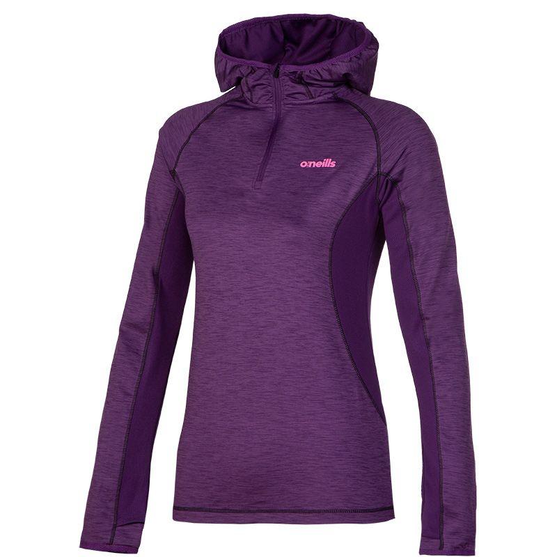 Women's Montana Brushed Marl Half Zip Hoodie Purple / Black / Pink